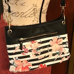 Nicole Miller black/white stripes shoulder bag